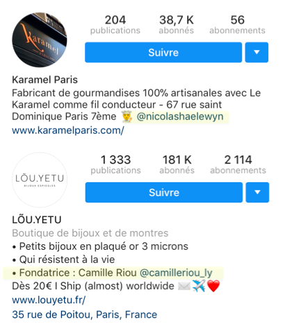 biographie instagram mention
