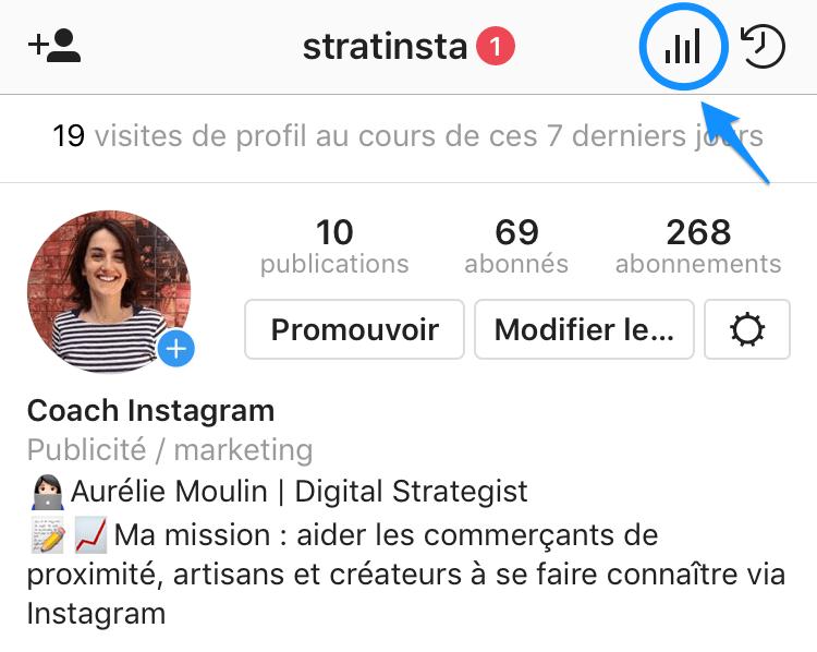 accès aux statistiques Instagram