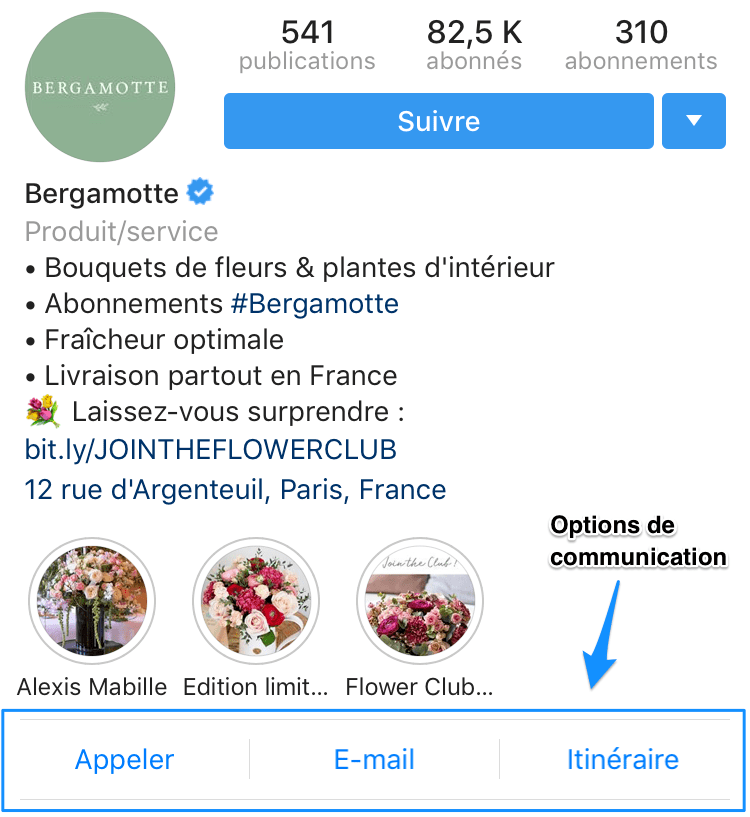 options de communication sur Instagram