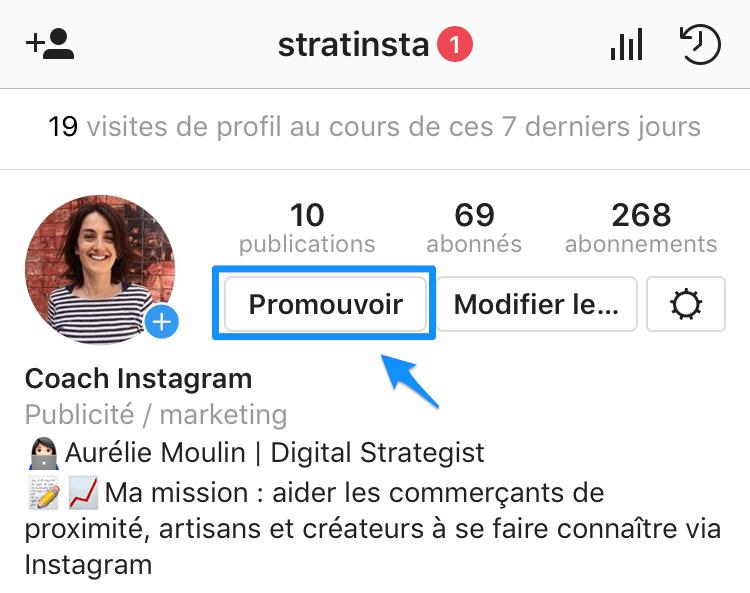 promouvoir une publication sur Instagram