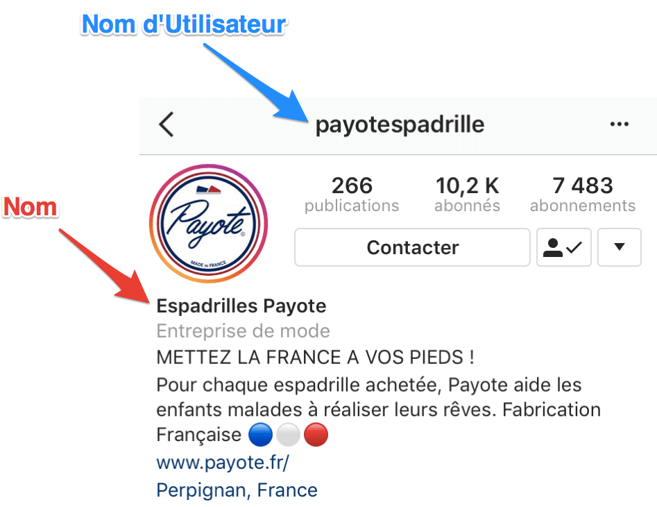 nom et nom d'utilisateur instagram